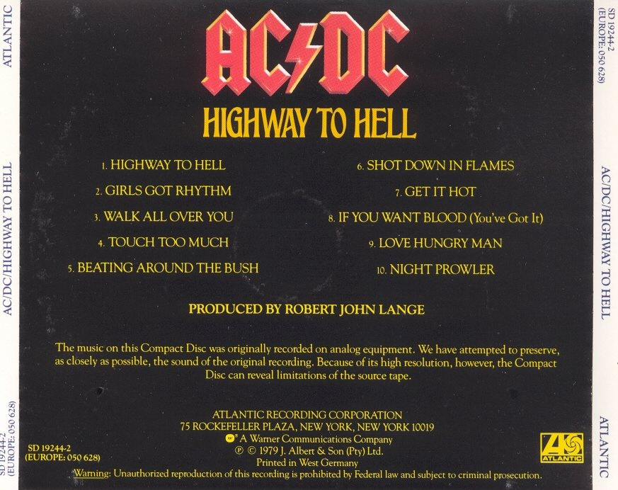 Copertina cd Ac - dc - highway to hell - back, cover cd Ac ...