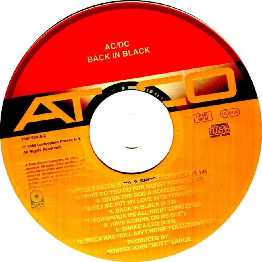Copertina cd ACDC - Back In Black - CD, cover cd ACDC ...