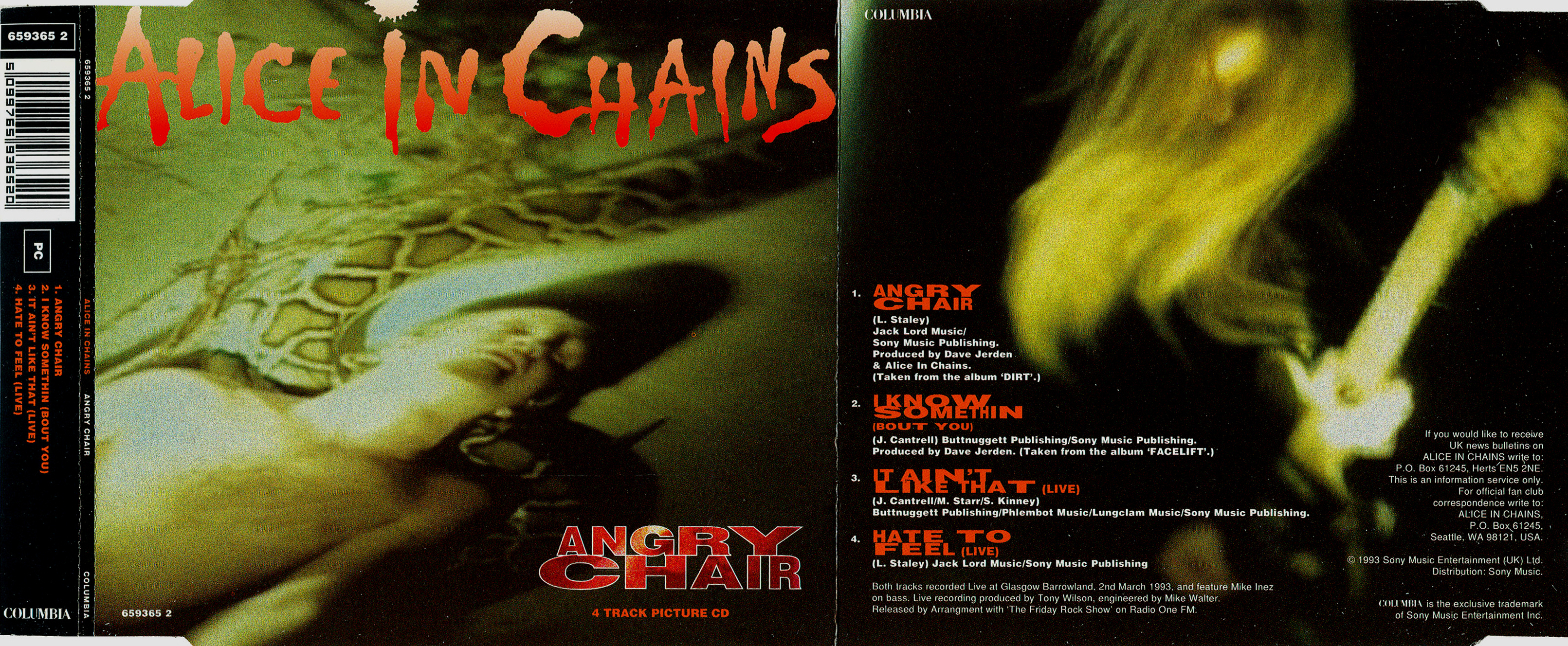 Alice In Chains - Angry Chair - Booklet