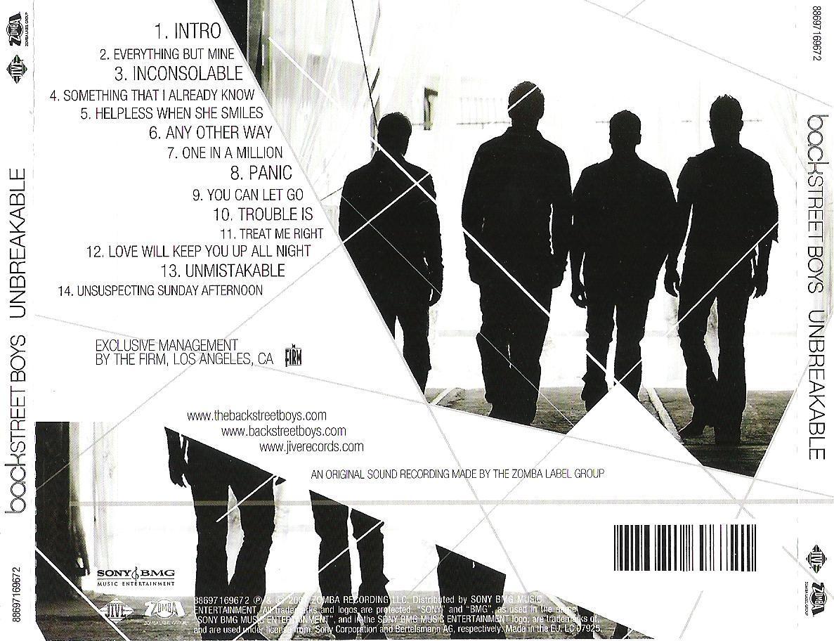 Copertina cd Backstreet Boys - Unbreakable - Back, cover ...