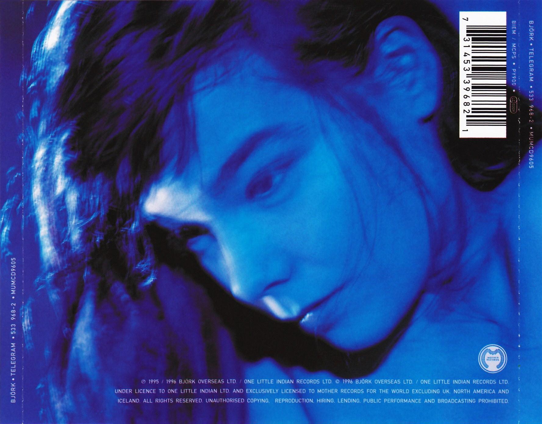 Copertina cd Bjork - Telegram - Back, cover cd Bjork ...
