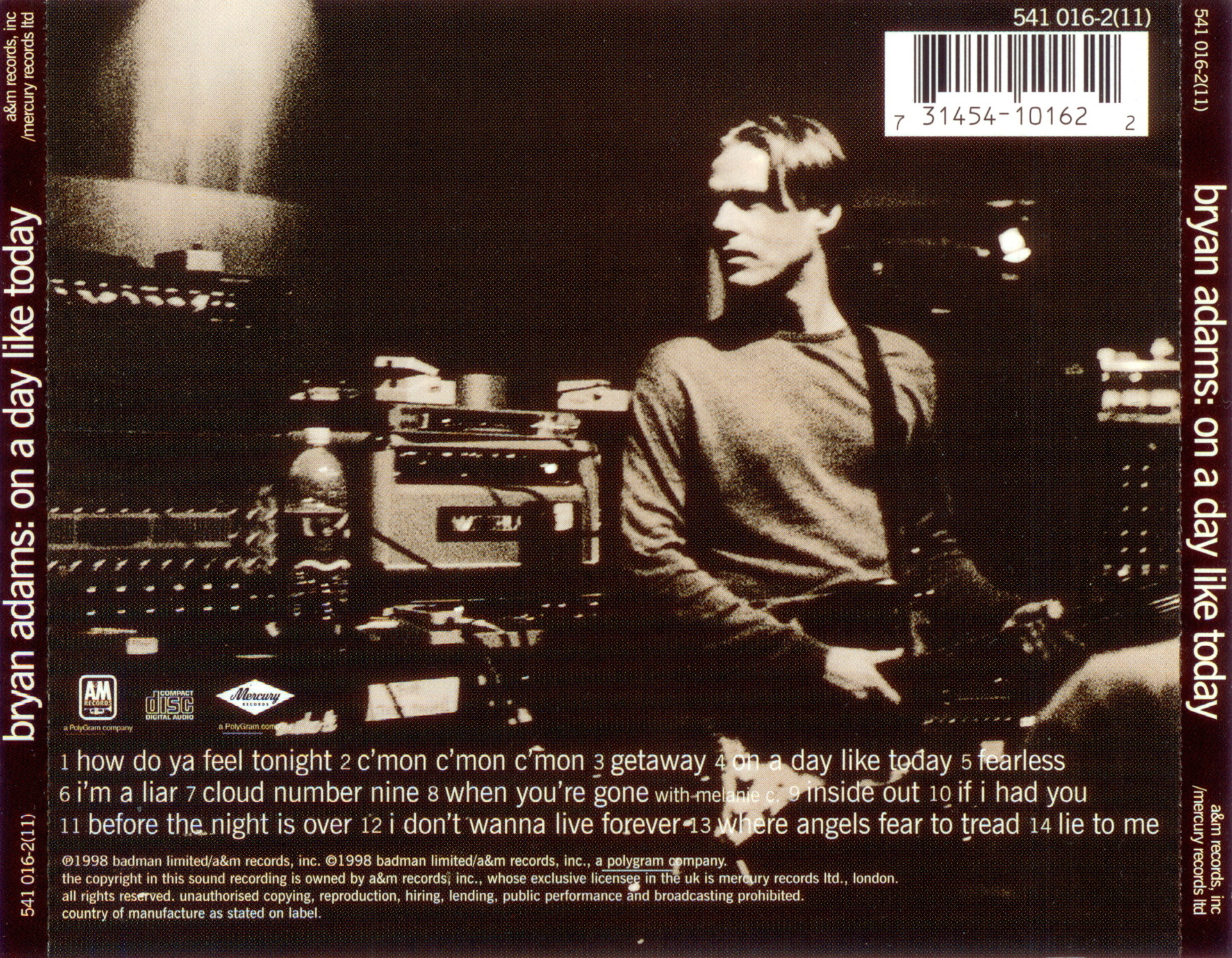 Bryan Adams - On a Day Like Today Lyrics and Tracklist ...