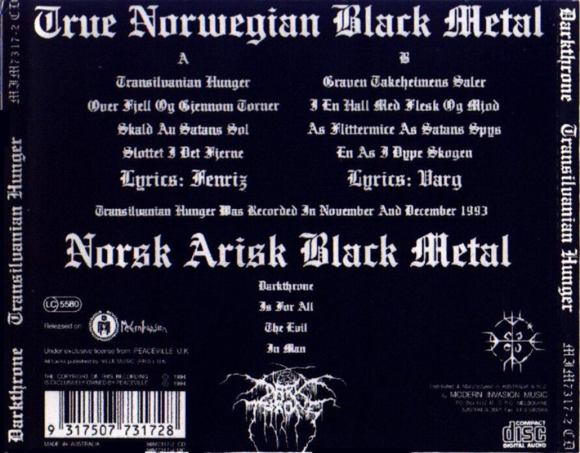 Copertina cd Darkthrone - Transilvanian Hunger - Back ...