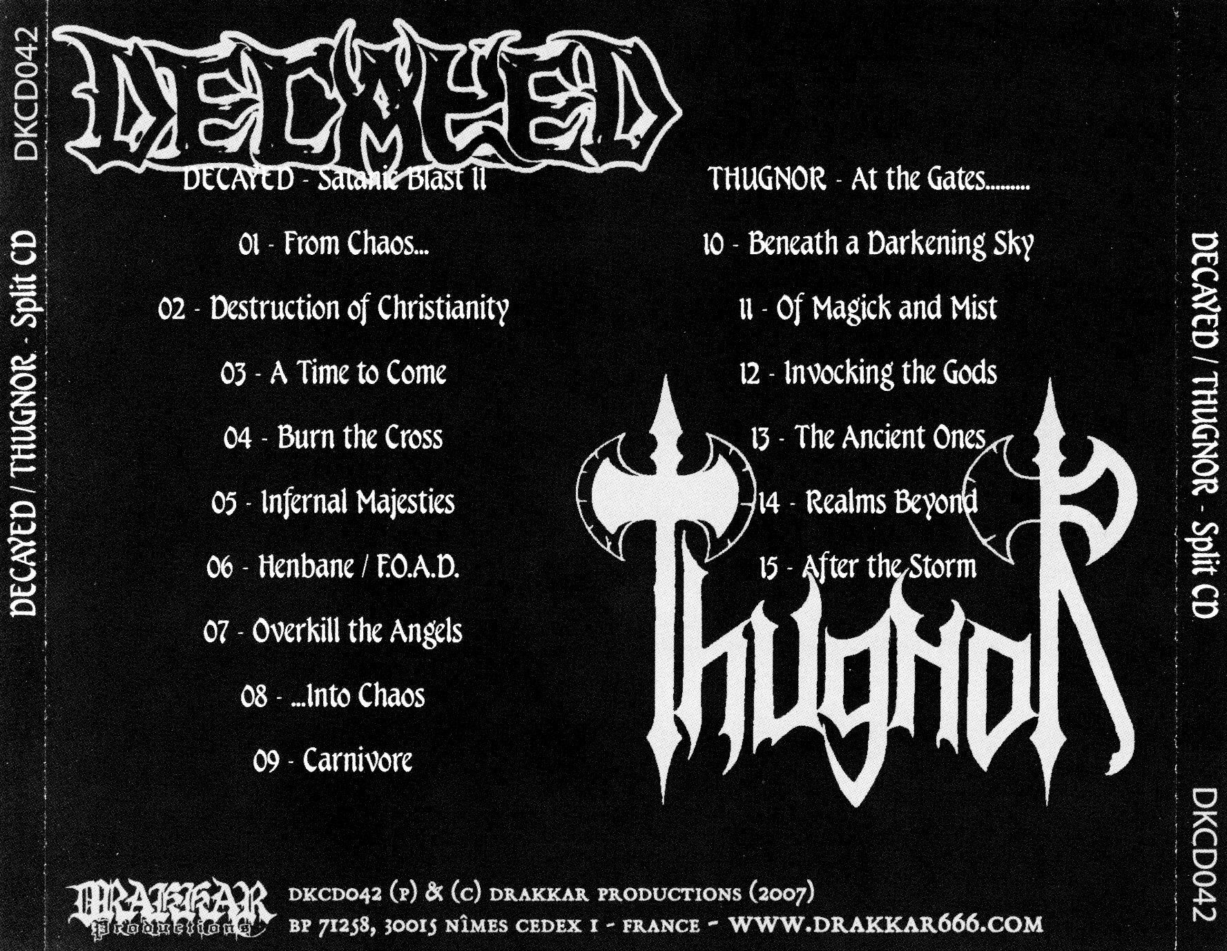 Decayed  Thugnor - Satanic Blast II  At The Gates - Back