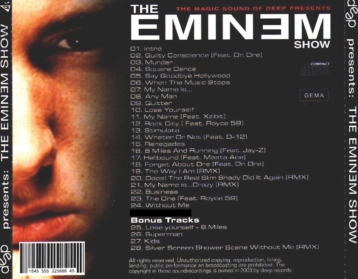 Copertina cd Eminem - Deep Presents The Eminem Show - Back ...