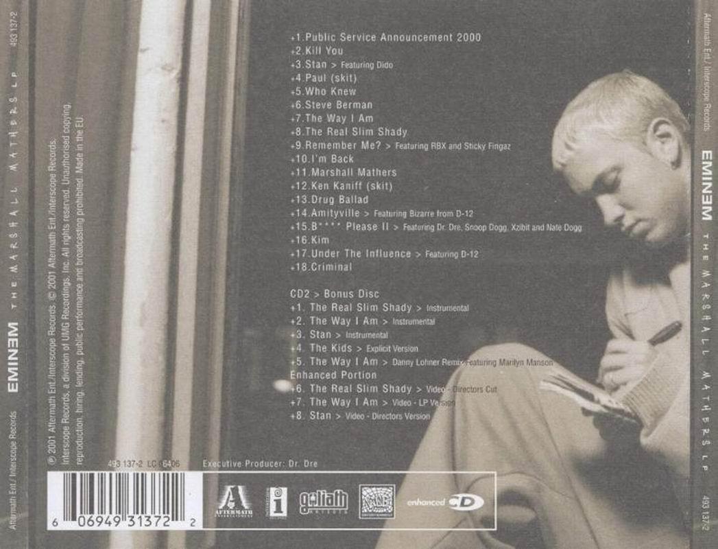 Copertina cd Eminem - The Marshall Mathers LP - Back ...