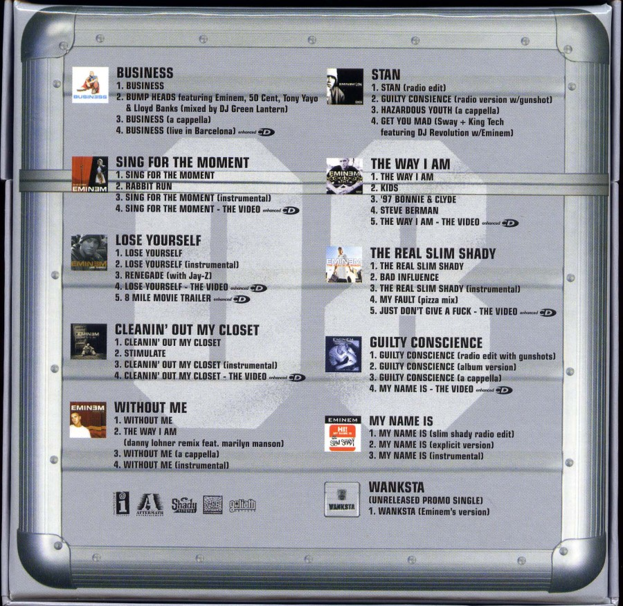 Copertina cd Eminem - The Singles 10 - Back, cover cd ...