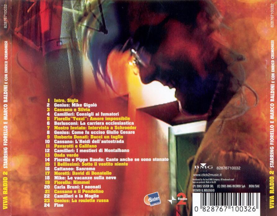 Copertina cd Fiorello e Baldini - Viva Radio 2 2005 - Back, cover ...