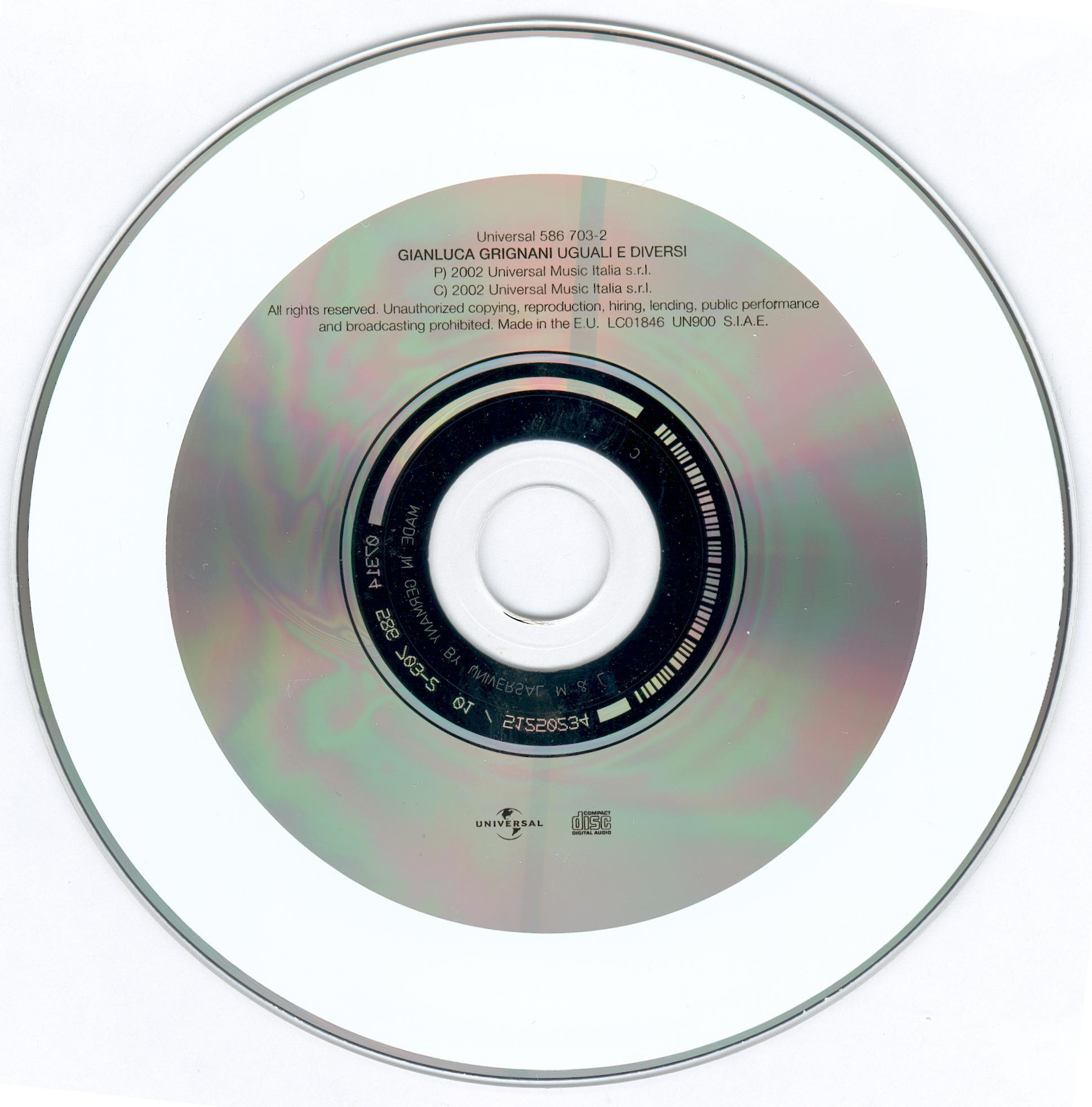 Copertina cd gianluca grignani uguali e diversi cd - Gianluca grignani uguali e diversi ...