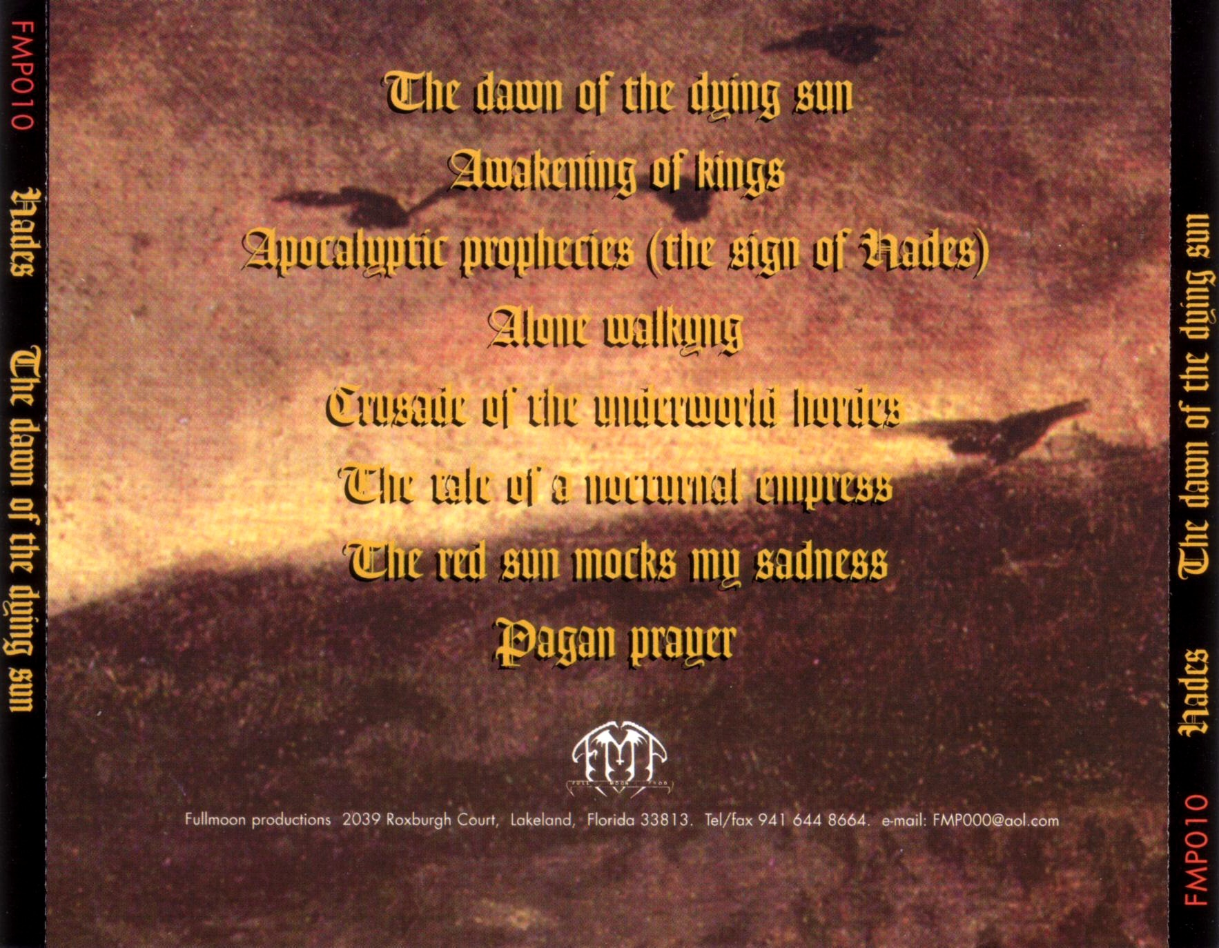 Hades - The Dawn Of The Dying Sun - Back
