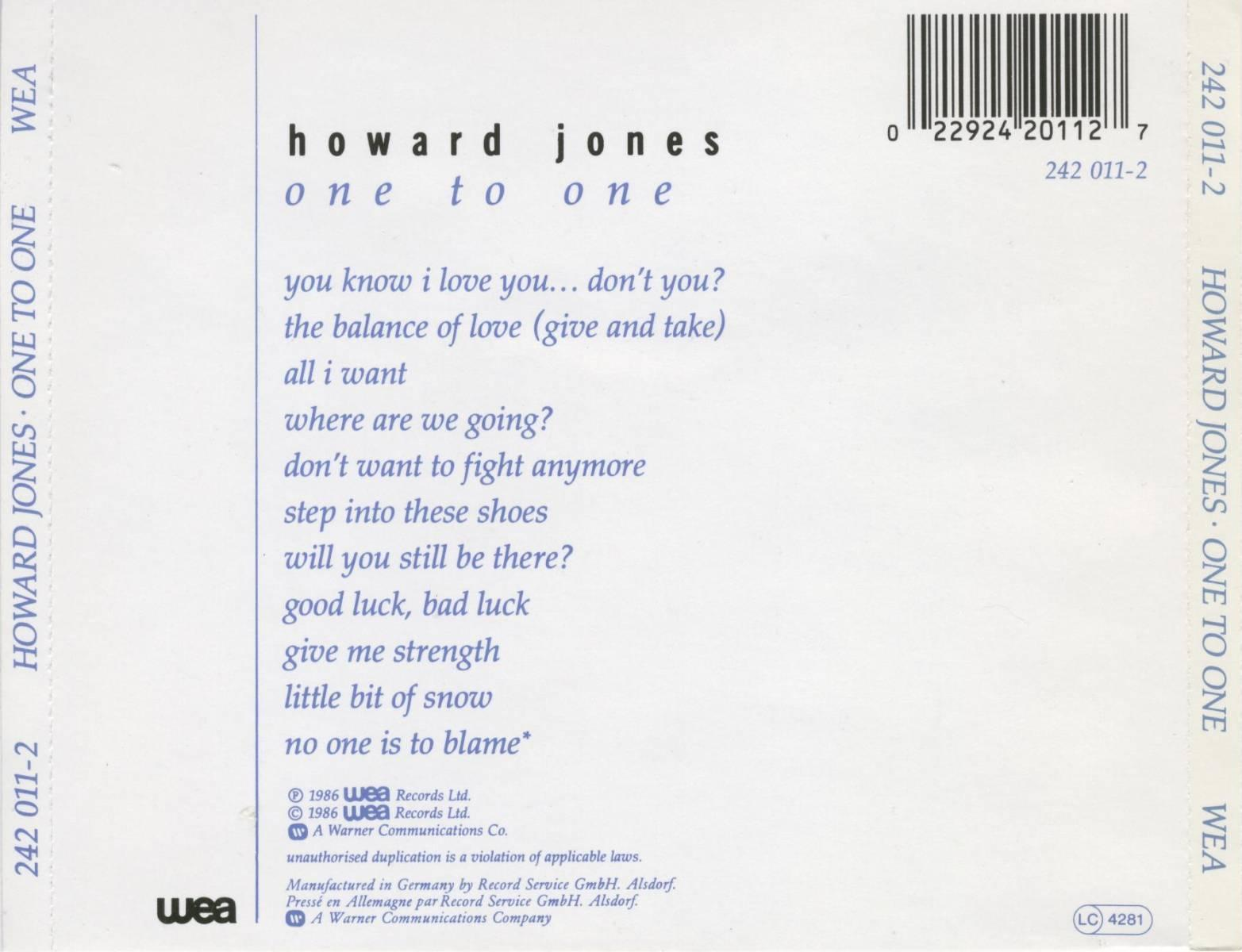 Howard Jones - One To One - Back