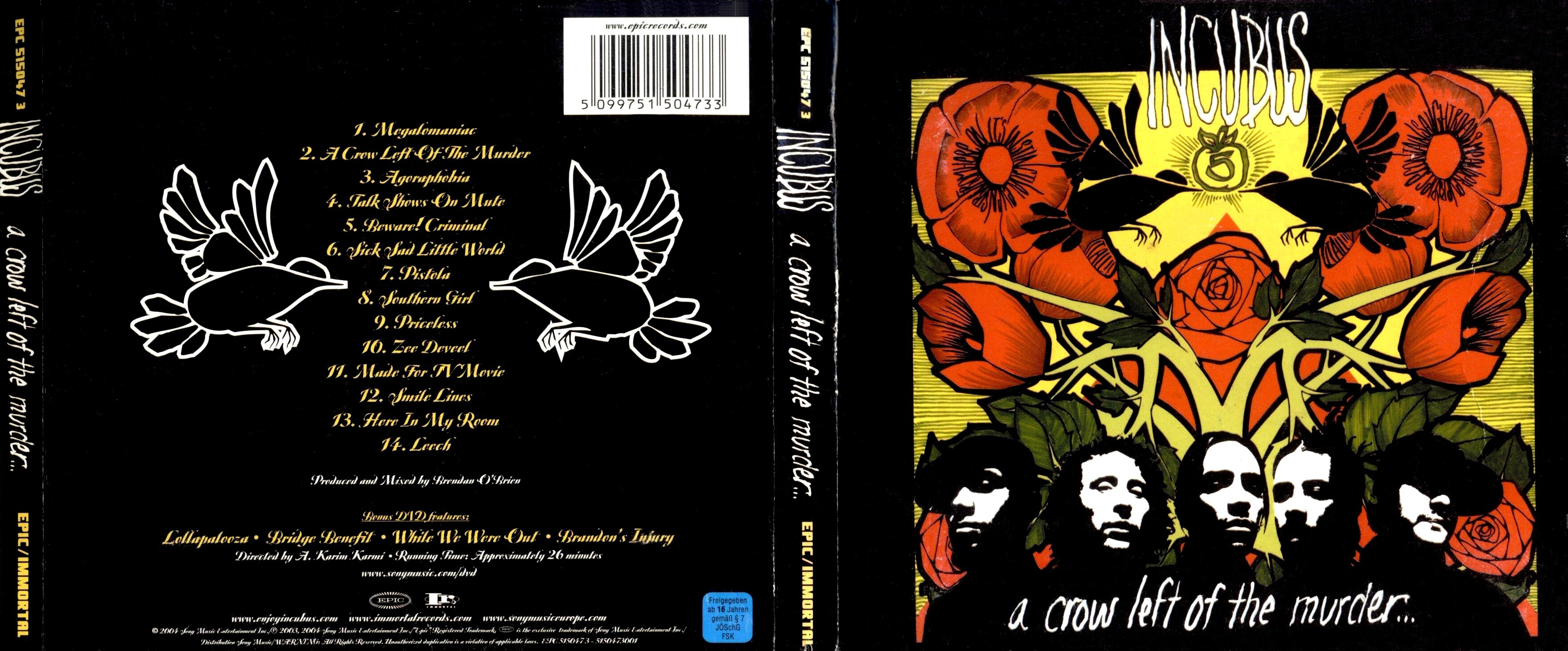 Copertina cd Incubus - A Crow Left Of The Murder ... A Crow Left Of The Murder