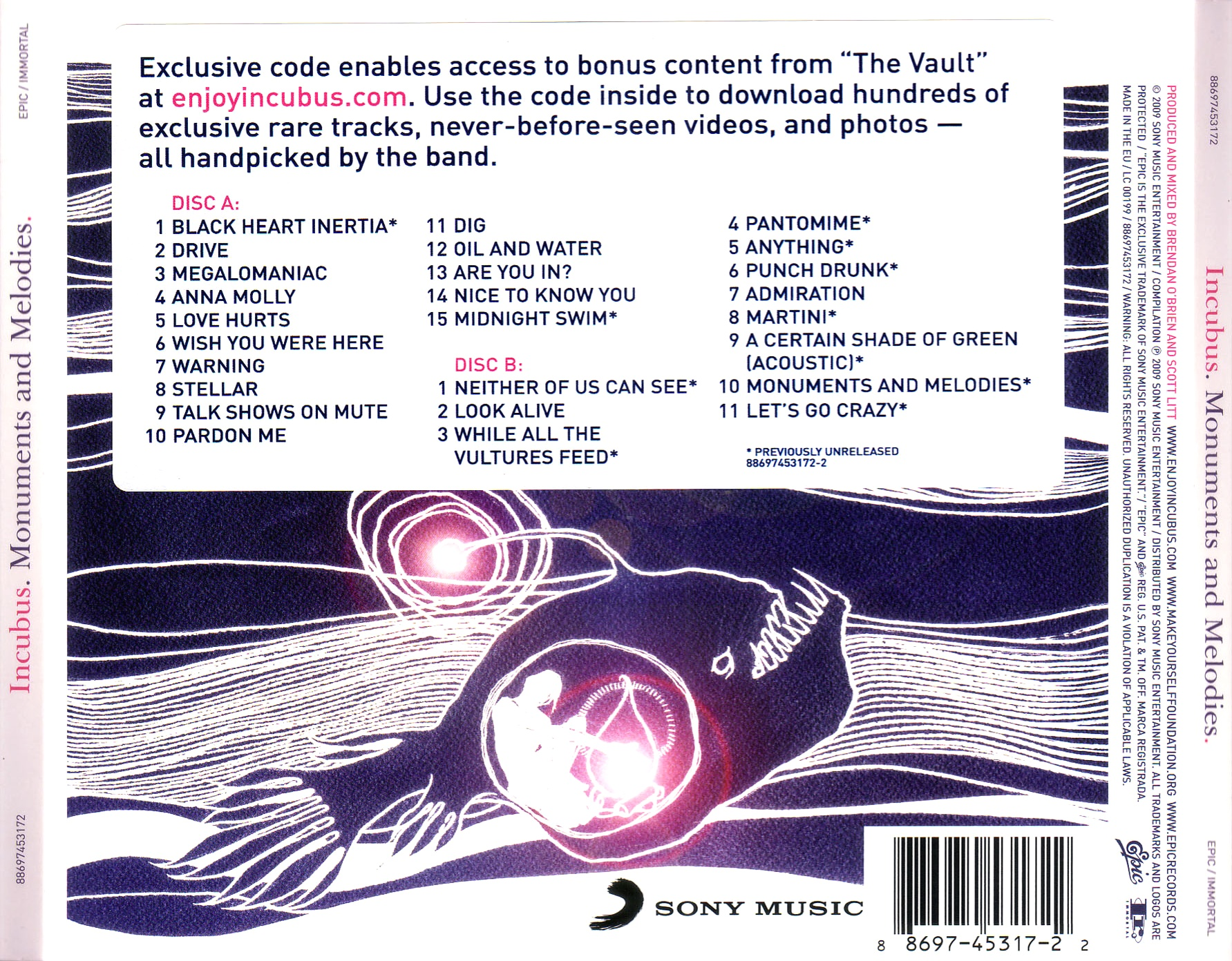 scarica la copertina cd incubus monuments and melodies