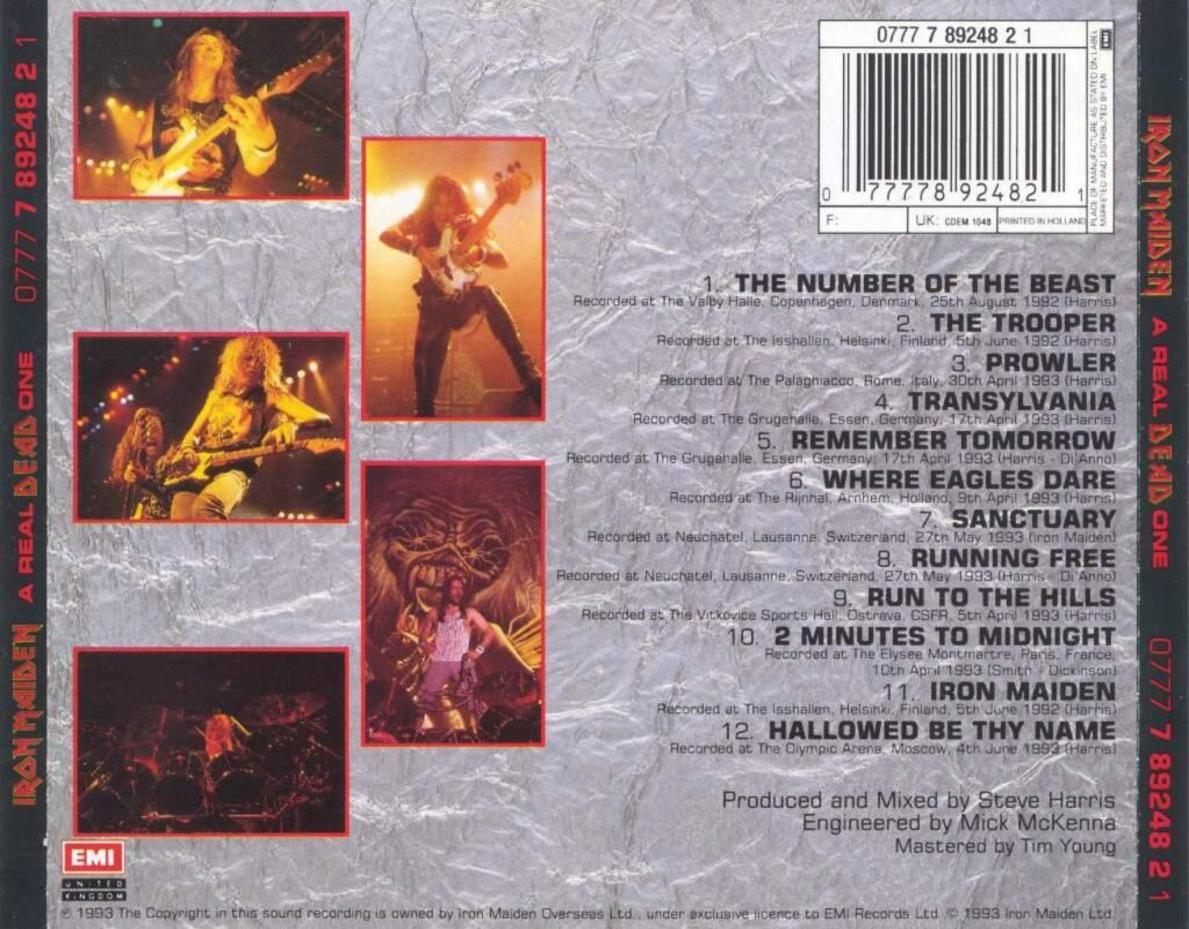 Copertina cd Iron Maiden - A Real Dead One - Back, cover ...