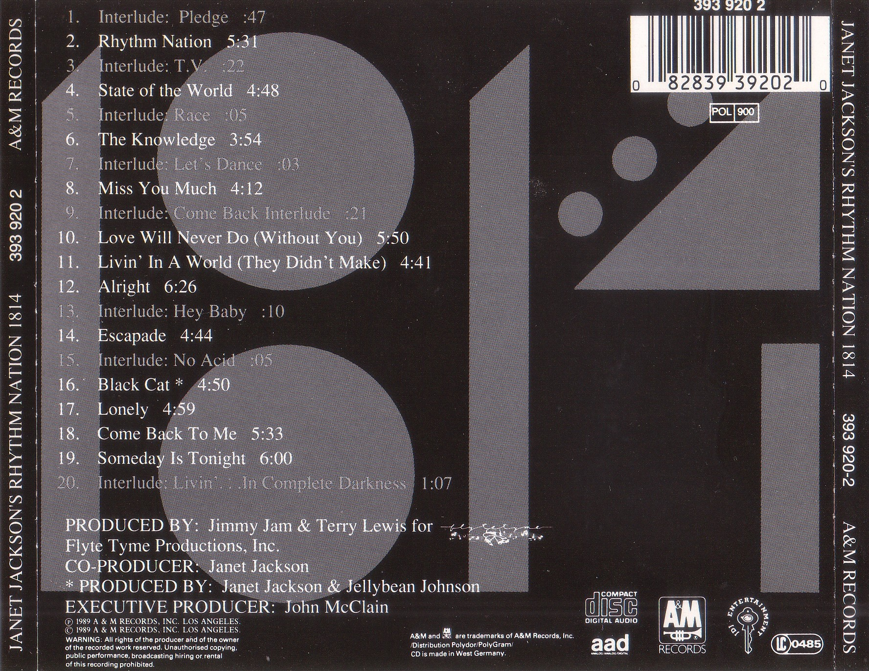 Janet Jackson - Rhythm Nation 1814 - Back