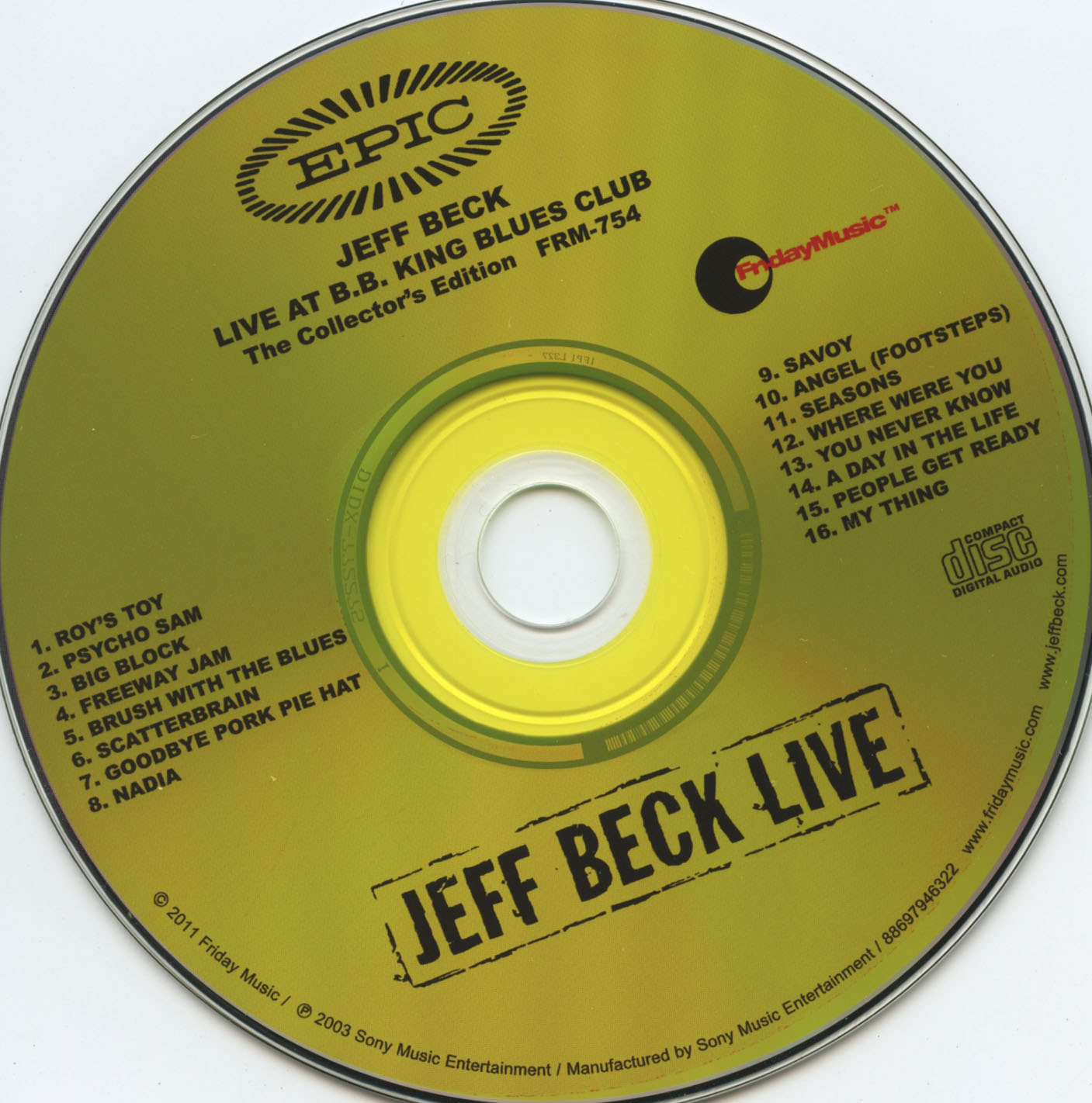 Jeff Beck - Live At B.B. King Blues Club and Grill - CD