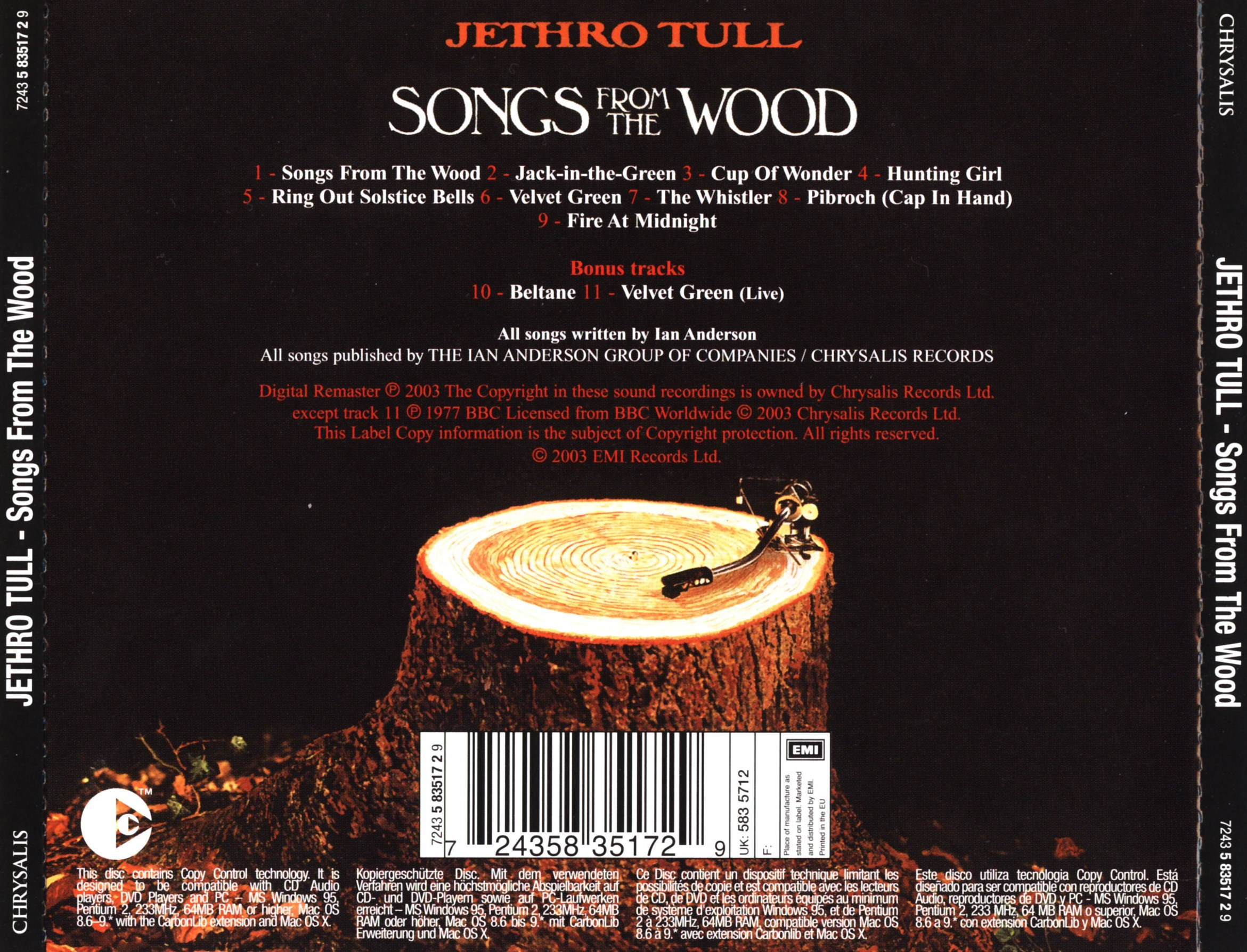 Jethro Tull - Songs From The Wood - Back