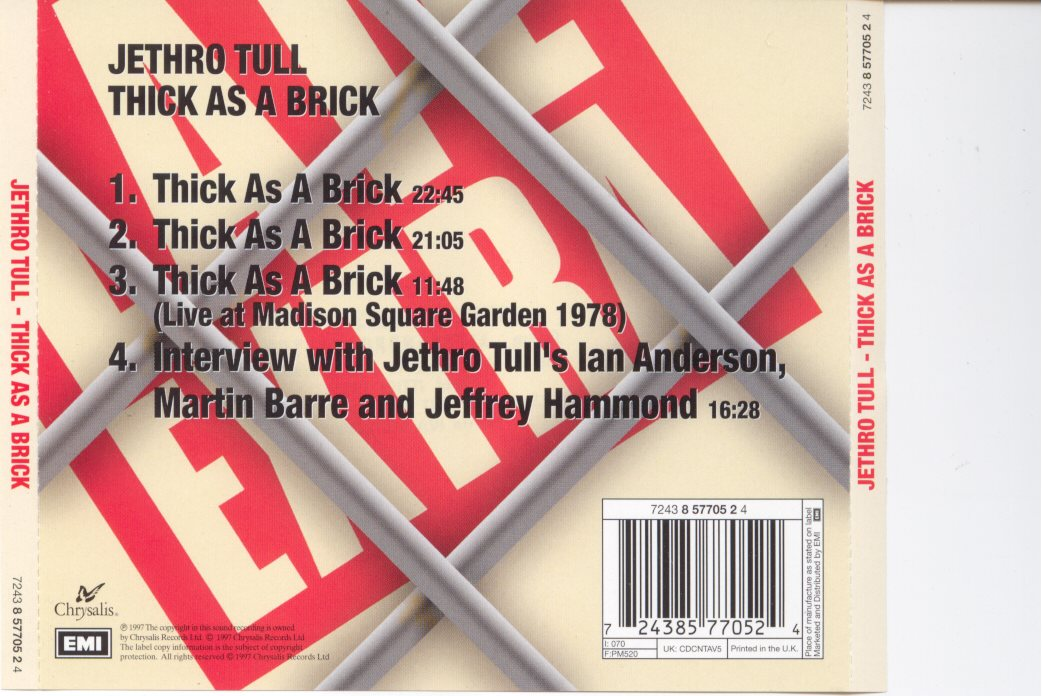 Copertina cd Jethro tull - thick as a brick - back, cover cd ...