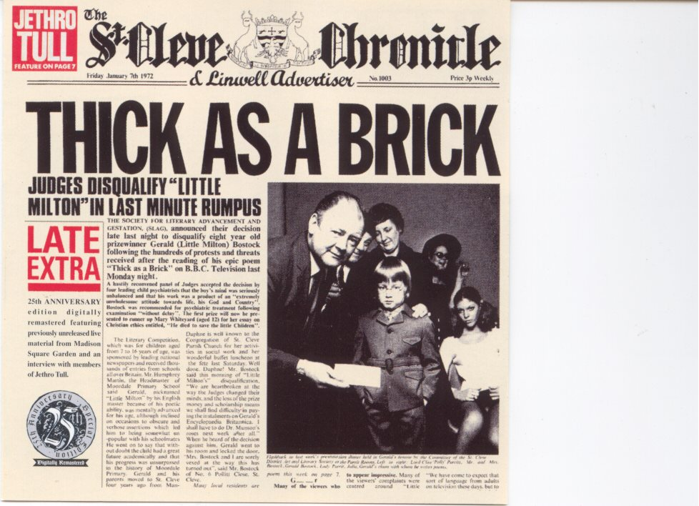 Copertina cd Jethro tull - thick as a brick - front, cover cd ...