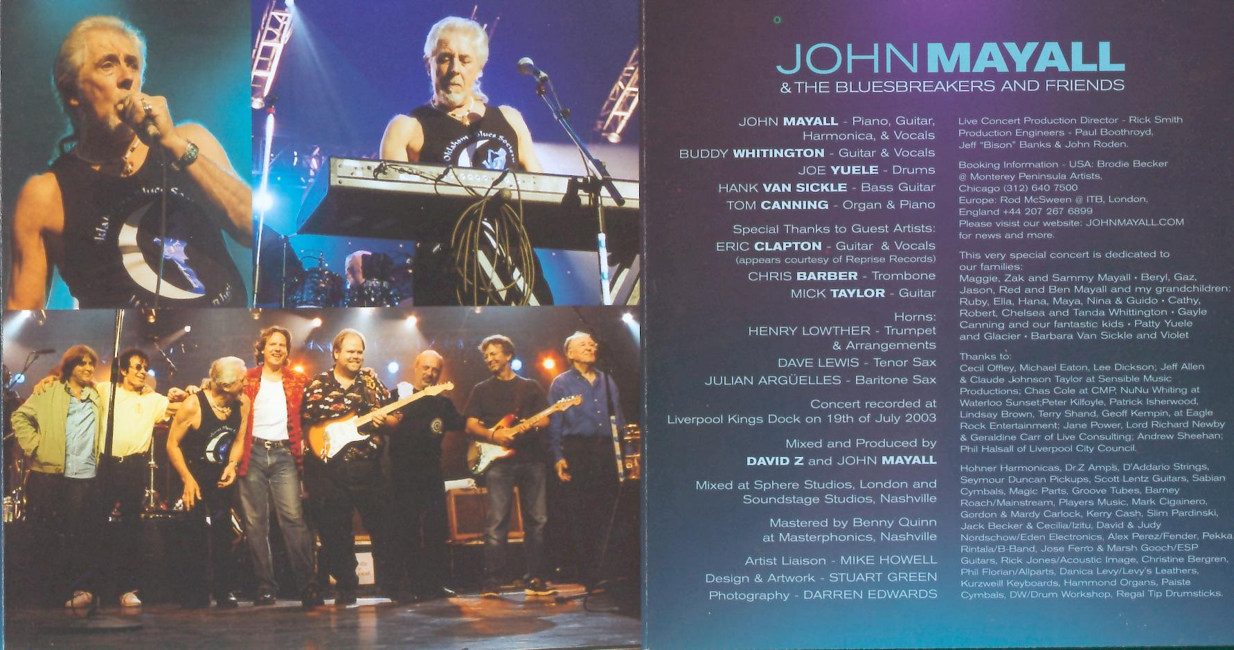 John Mayall - 70th Birthday Concert - Inlay