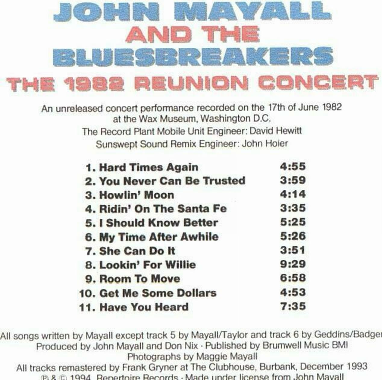 John Mayall - The 1982 Reunion Concert - Back