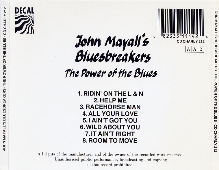 John Mayall - The Power Of The Blues - Back